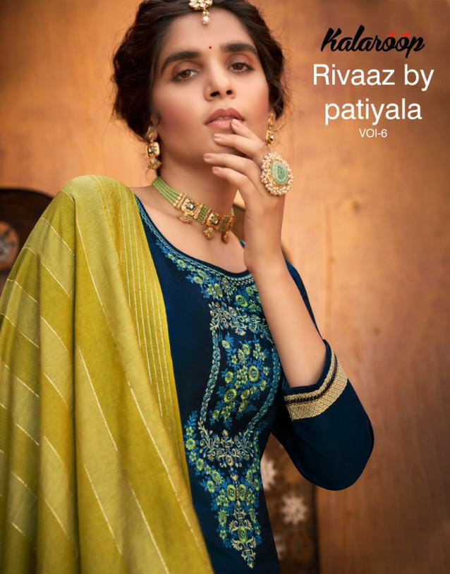 Kalaroop Kajree Riwaz By Patiyala Vol 6 Designer Jam Silk With Embroidery Work Stitch Patiyala Suits Wholesale