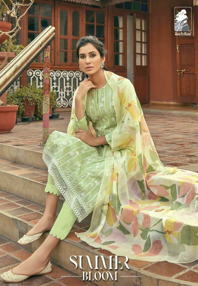 Sahiba Summer Bloom Designer Cambric Cotton With Schiffli Embroidery Work Suits Wholesale