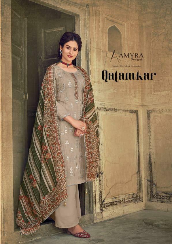 Amyra Designer Qalamkar Designer Heavy Chinon Silk With Exclusive Mirror Embroidery Work Suits Wholesale