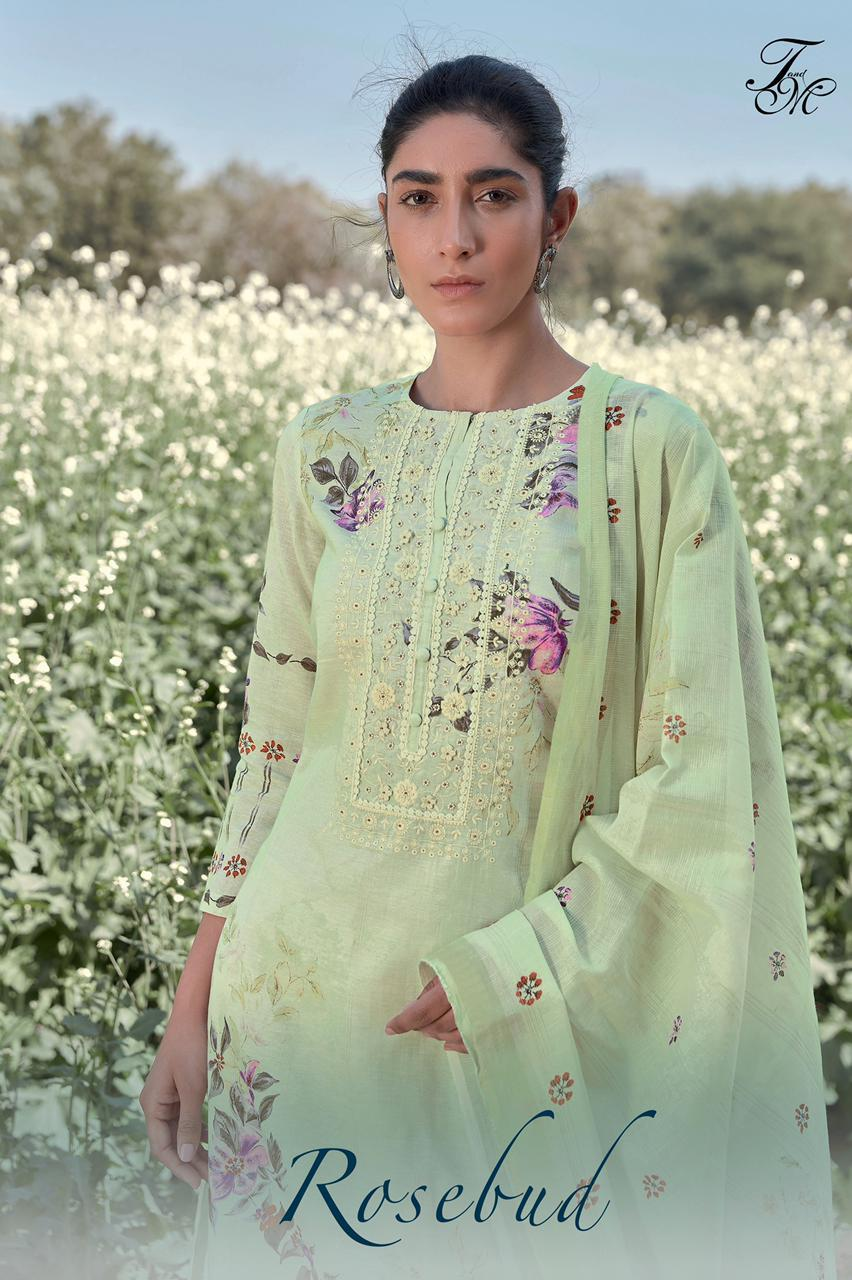 T&m Rosebud Designer Pure Linen Pattern With Digital Print With Embroidery Work And Handwork Suits Wholesale