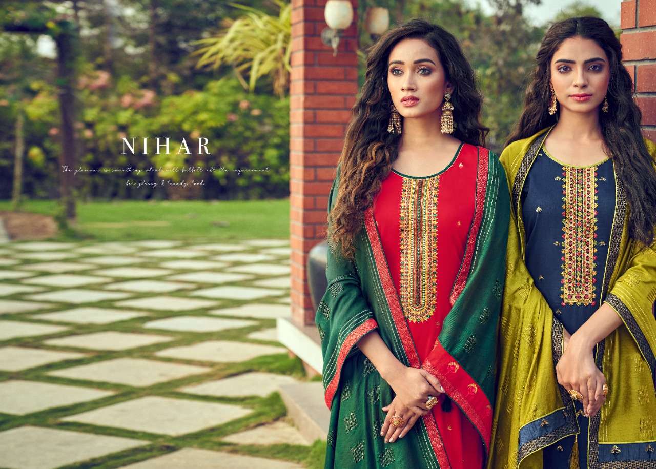 Panch Ratna Nihaar Designer Cotton Satin With Sequence Work Suits Wholesale
