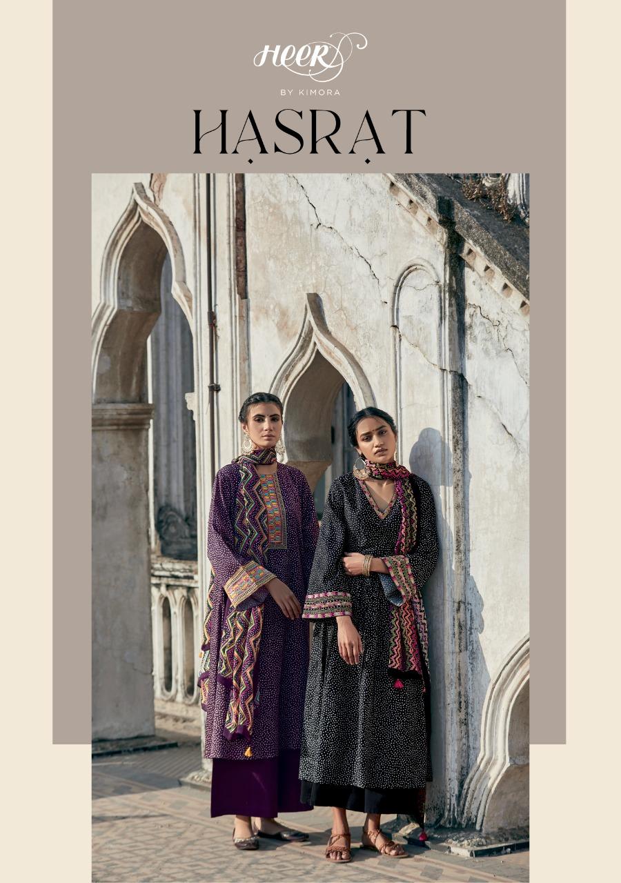 Kimora Heer Hasrat Designer Cotton Satin Print With Embroidery Work On Sleeves Suits Wholesale