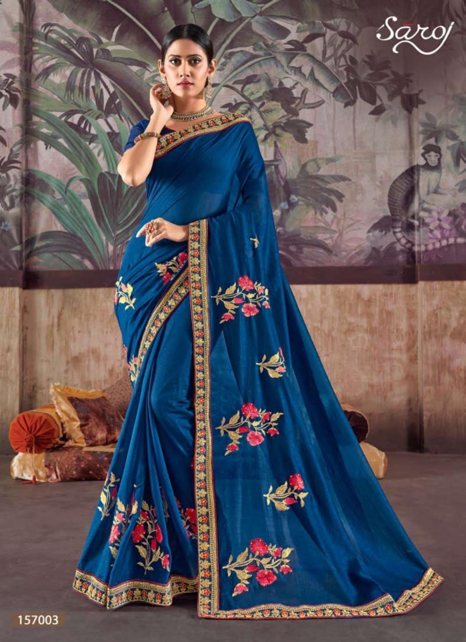 Saroj Netrika Designer Vichitra Silk With Embroidery Work Butta Partywear Sarees Wholesale