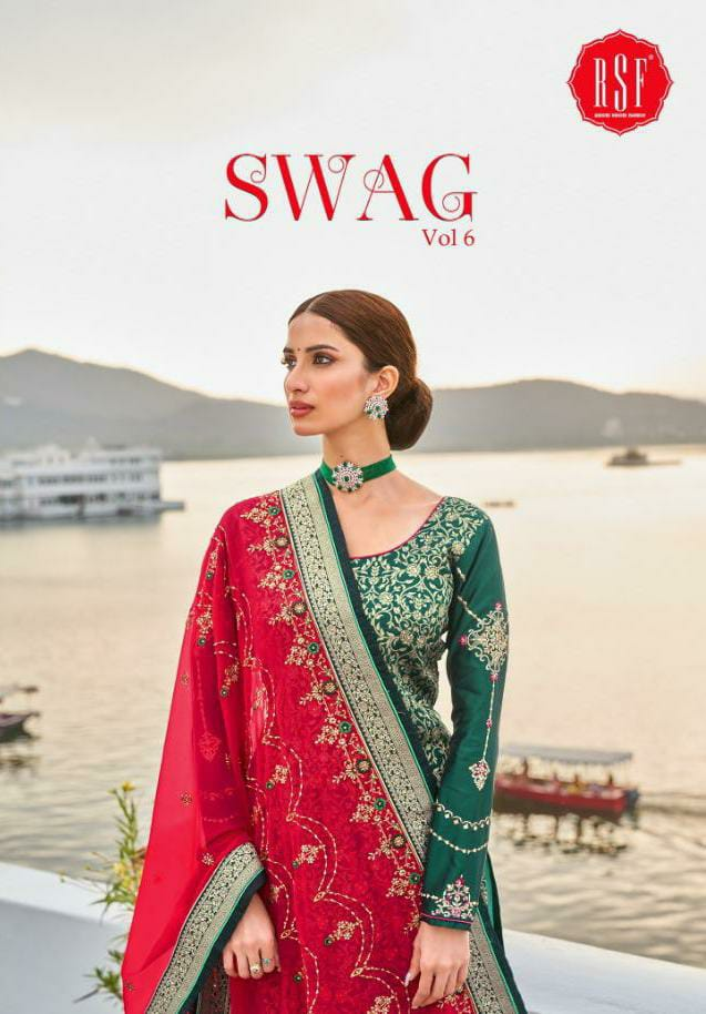 Rsf Swag Vol 6 Designer Pure Silk Jacquard With Heavy Embroidery Work And Handwork Suits Wholesale