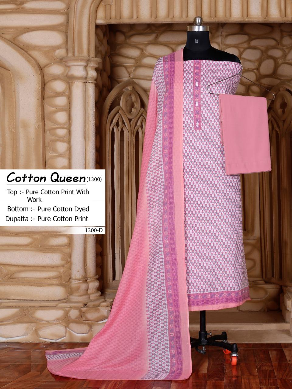 Bipson Cotton Queen 1300 Designer Cotton Print With Work Suits Wholesale