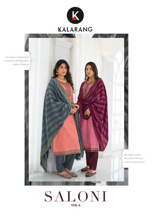 Kalarang Saloni Vol 6 Designer Jam Silk Cotton With Embroidery Work Suits Wholesale