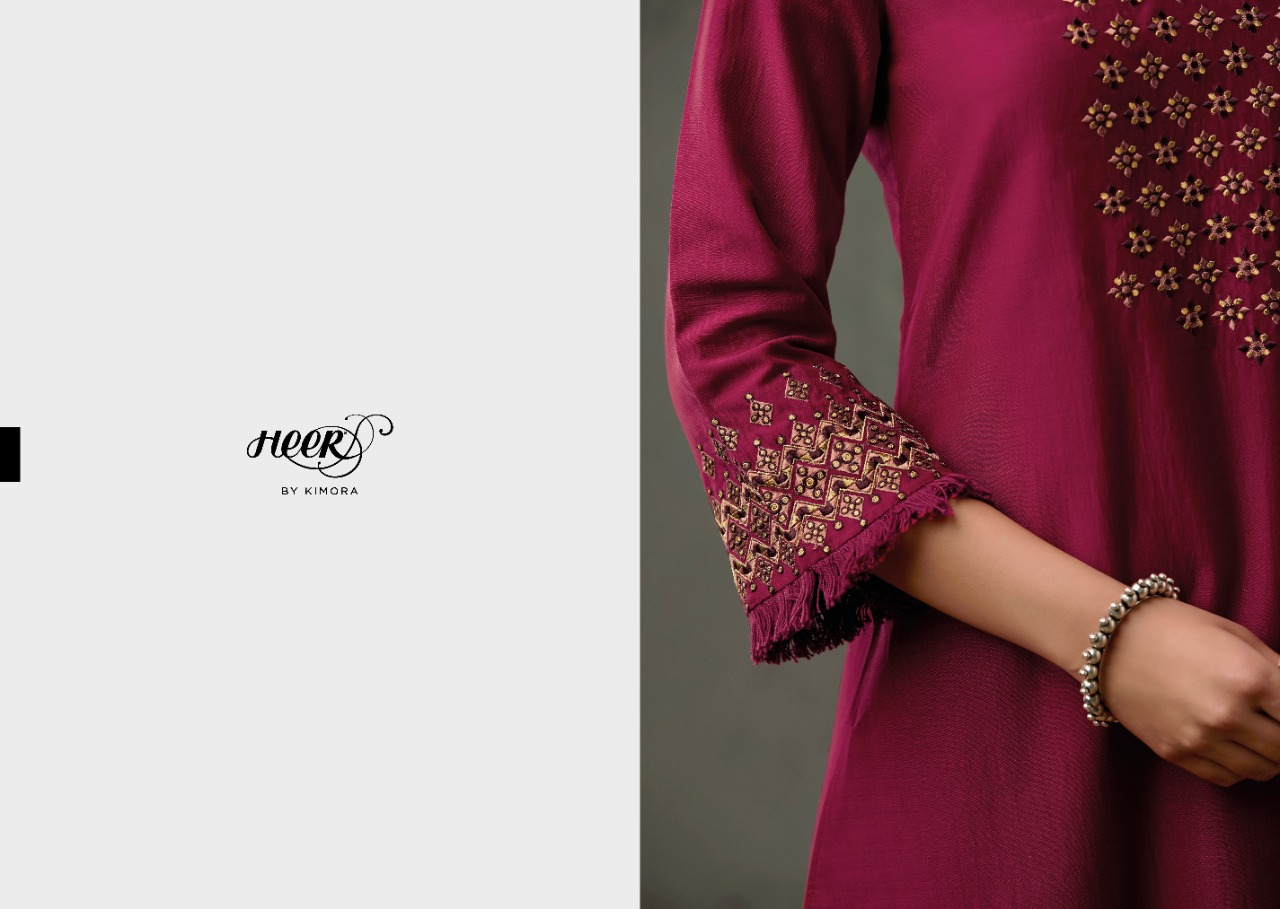 Kimora Heer Boondh Designer Pure Finest Cotton Satin With Embroidery Work Suits Wholesale