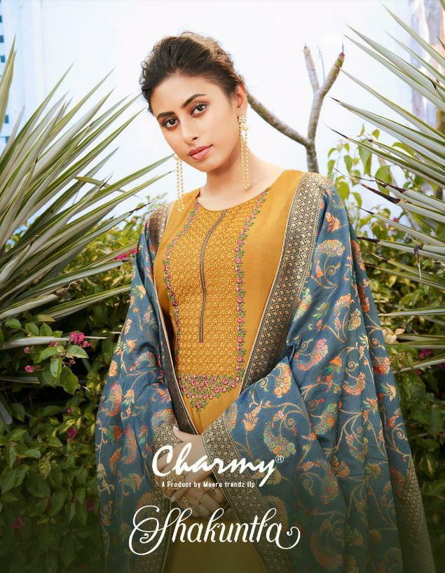 Zisa Meera Charmy Shakuntla Designer Dola Silk Embroidery Work Suits Wholesale