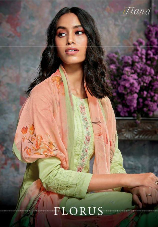 Itrana Florus Designer Cambric Cotton With Embroidery Work Suits Wholesale