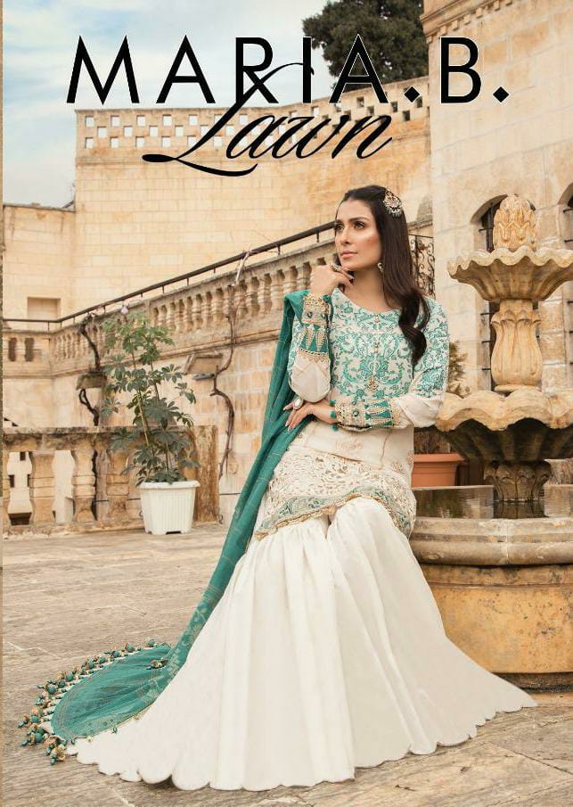 Fair Lady Export Maria B Lawn Mprint Vol 2 Designer Jam Satin Digital Printed With Embroidery Work Suits Wholesale