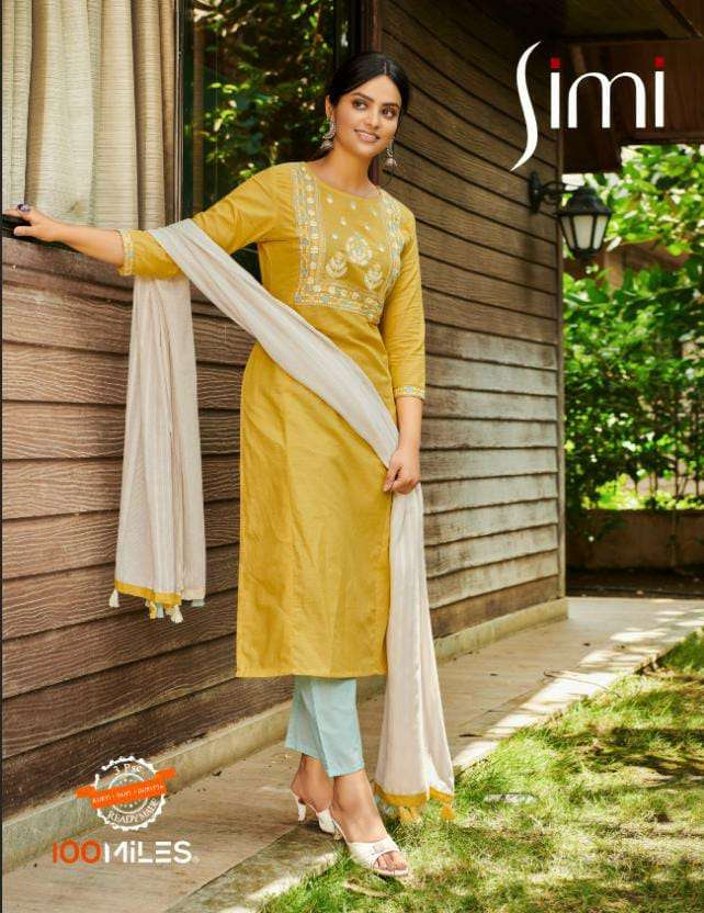 100MILES SIMI DESIGNER COTTON EMBROIDERED KURTIS IN DAILY WEAR COLLECTION AT BEST WHOLESALE RATE
