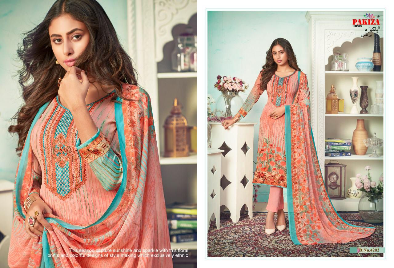 Pakiza Prints Vol 42 Designer Crepe With Neck Embroidery Work Suits Wholesale