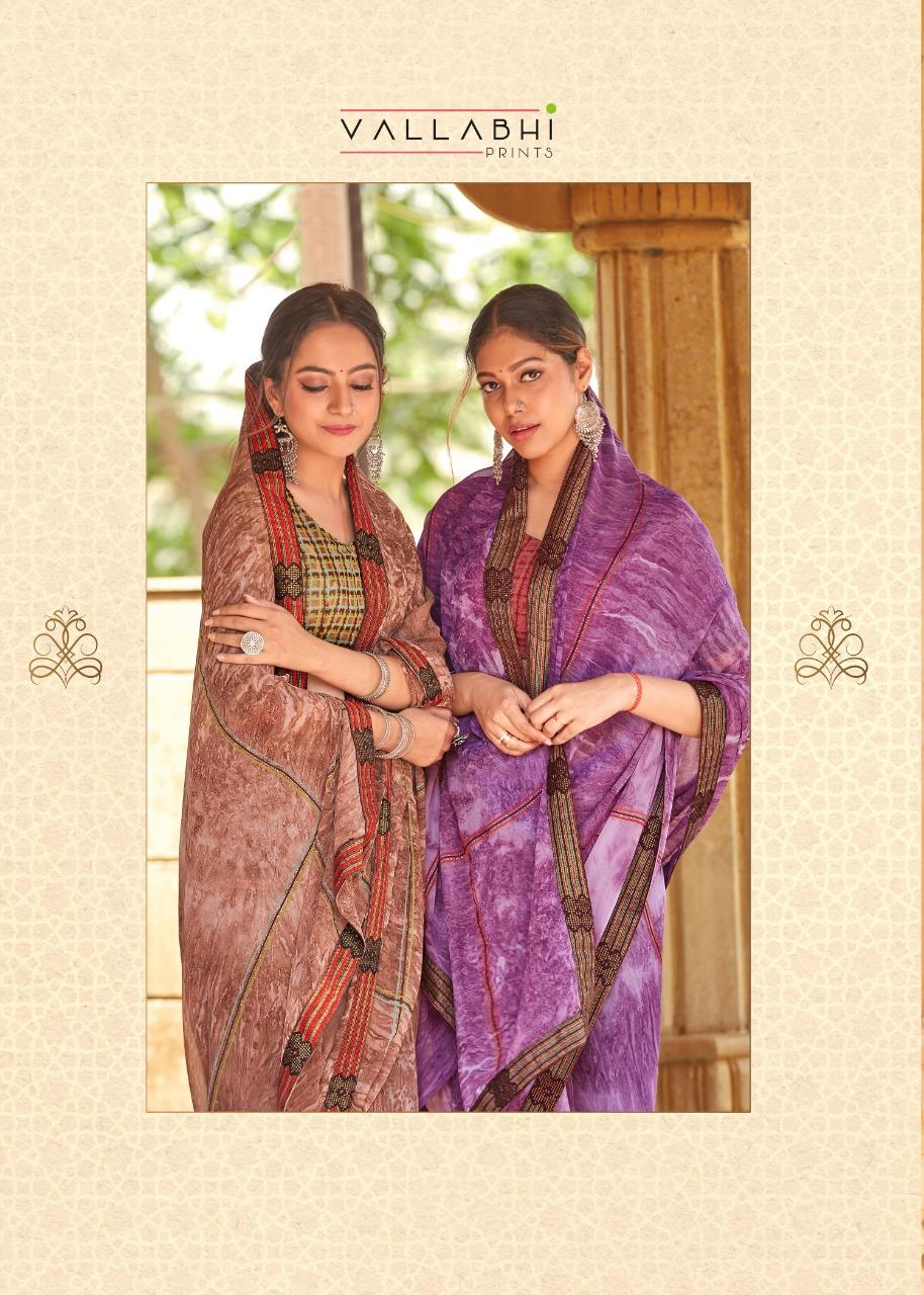 Vallabhi Assam Designer Georgette Printed Low Range Sarees Best Wholesale Rate