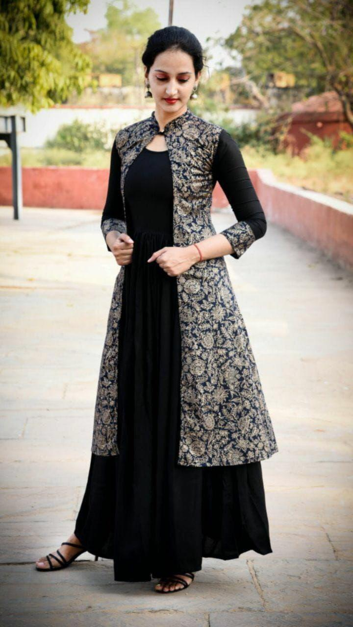 Designer Rayon Kurti With Rayon Kotti With Foil Work In Singles