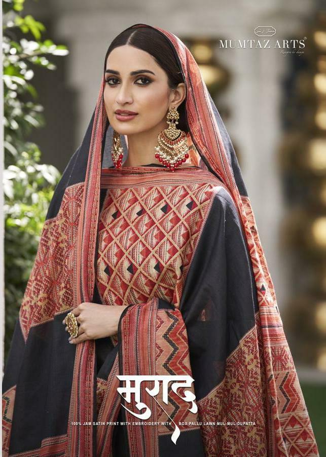 Mumtaz Arts Muraad Designer Jam Satin Digital Print With Heavy Neck Embroidery Work Elegance Suits In Best Wholesale