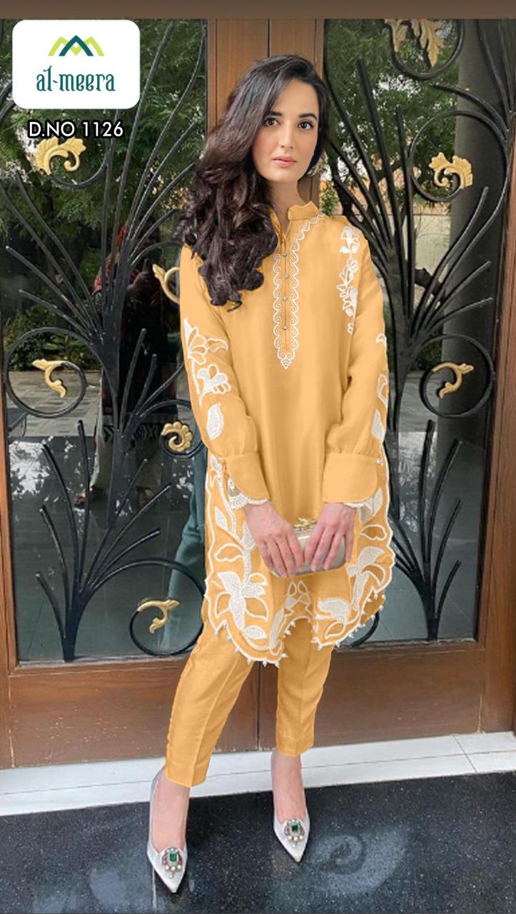 Al Meera D No 1126 Designer Fox Georgette Kurti With Jam Satin Pant In Singles