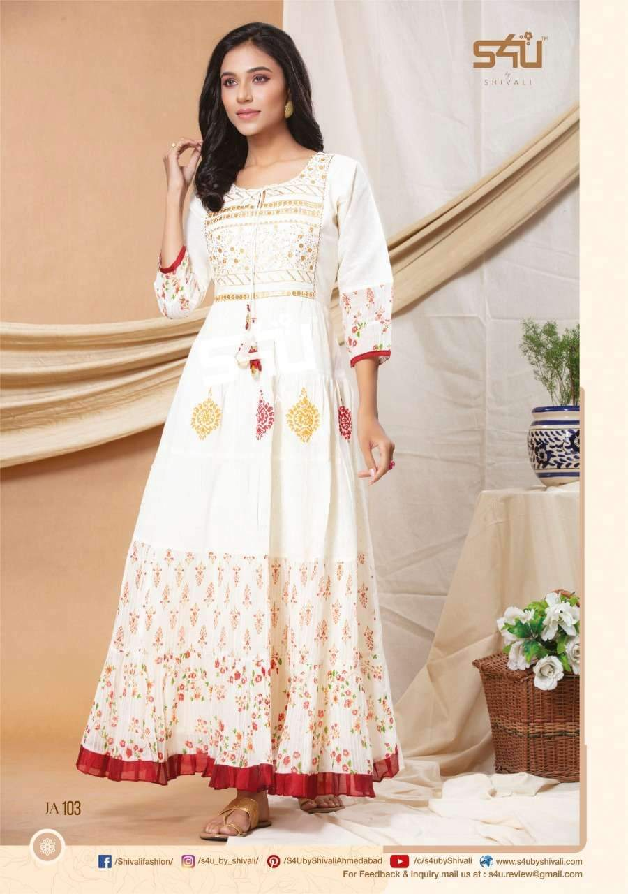 S4u Jasmine Designer Cotton Or Rayon Embroidery Work Gowns In Singles