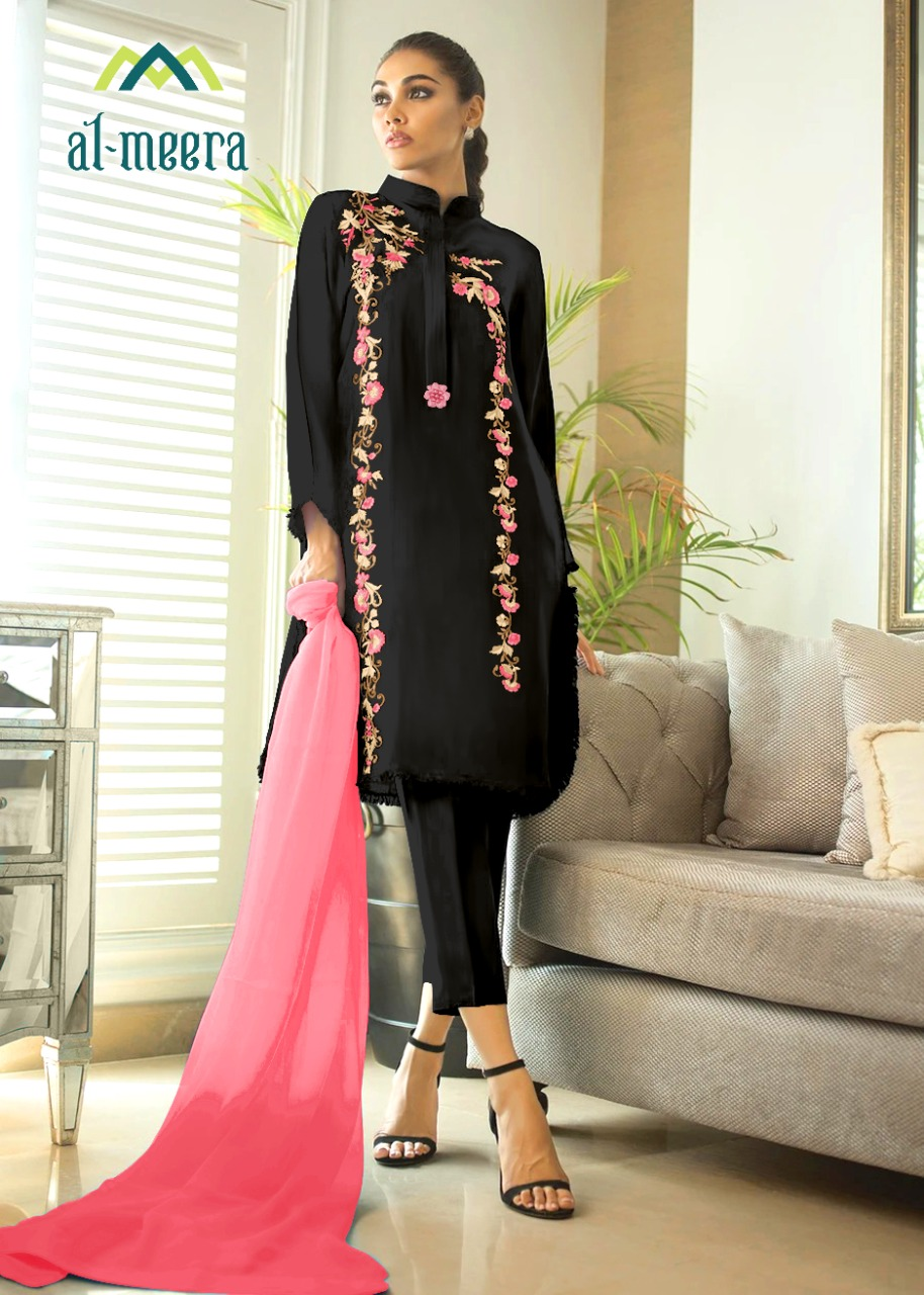 Al Meera D.1123 Designer Fox Georgette Embroidery Top With Jam Satin Pent And Nazneen Dupatta Readymade In Singles