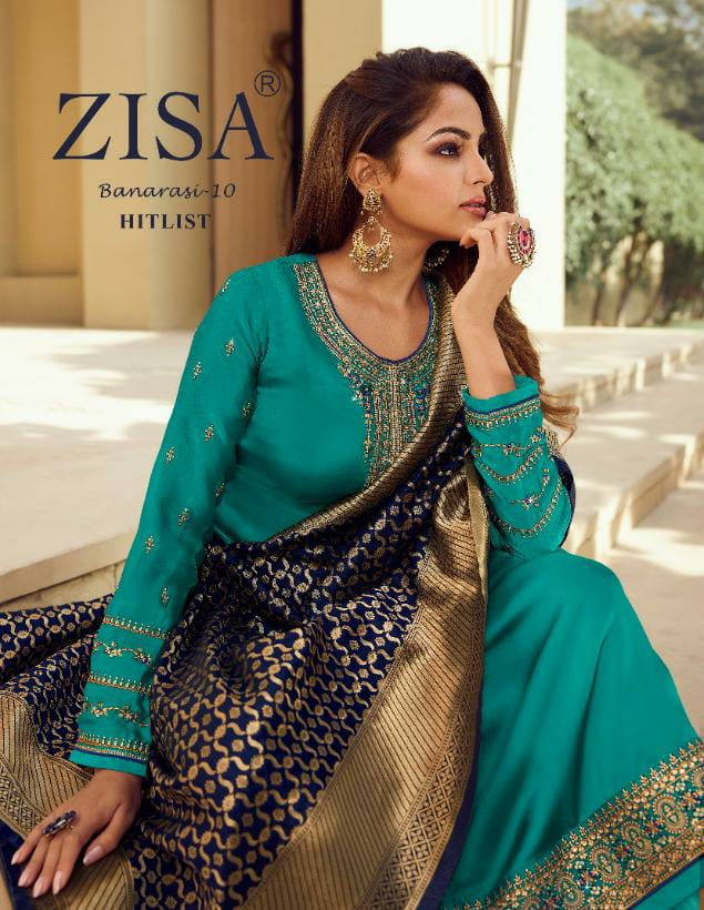 Zisa Banarasi 10 Hit List Designer Satin Georgette With Embroidery Work Suit With Banarasi Jacquard Dupatta In Best Wholesale Rate