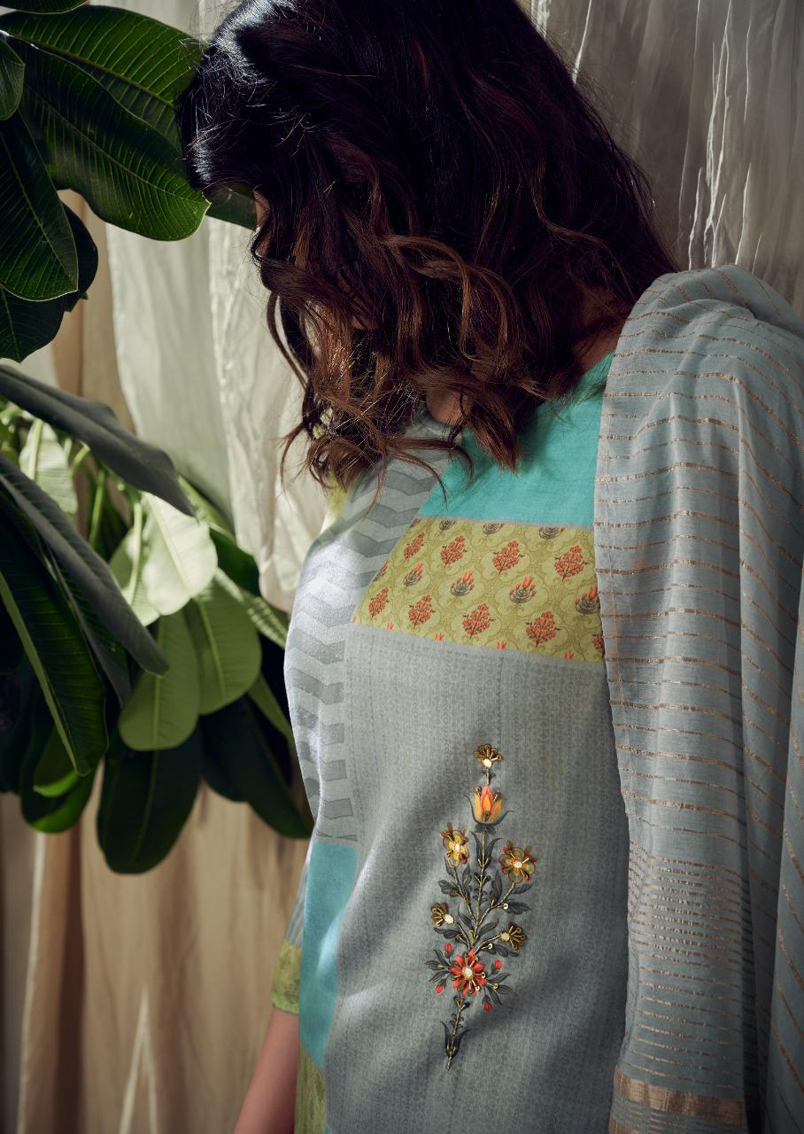 Vink Santorini Designer Readymade Cotton Satin Kurta With Pant And Shaded Dupatta