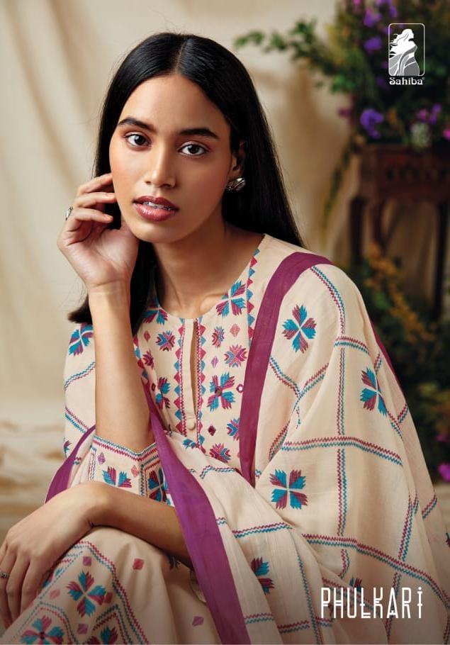 Sahiba Fulkari Designer Cambric Comb Digital Print With Handwork Suits Wholesale