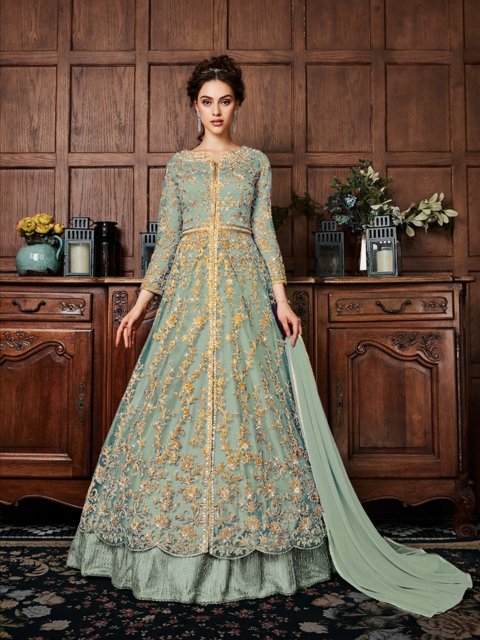 V Pulse 4530 Designer  Net With Coding Work And Stone Work With Heavy Full Work Partywear Semi Stitch Gowns In Singles