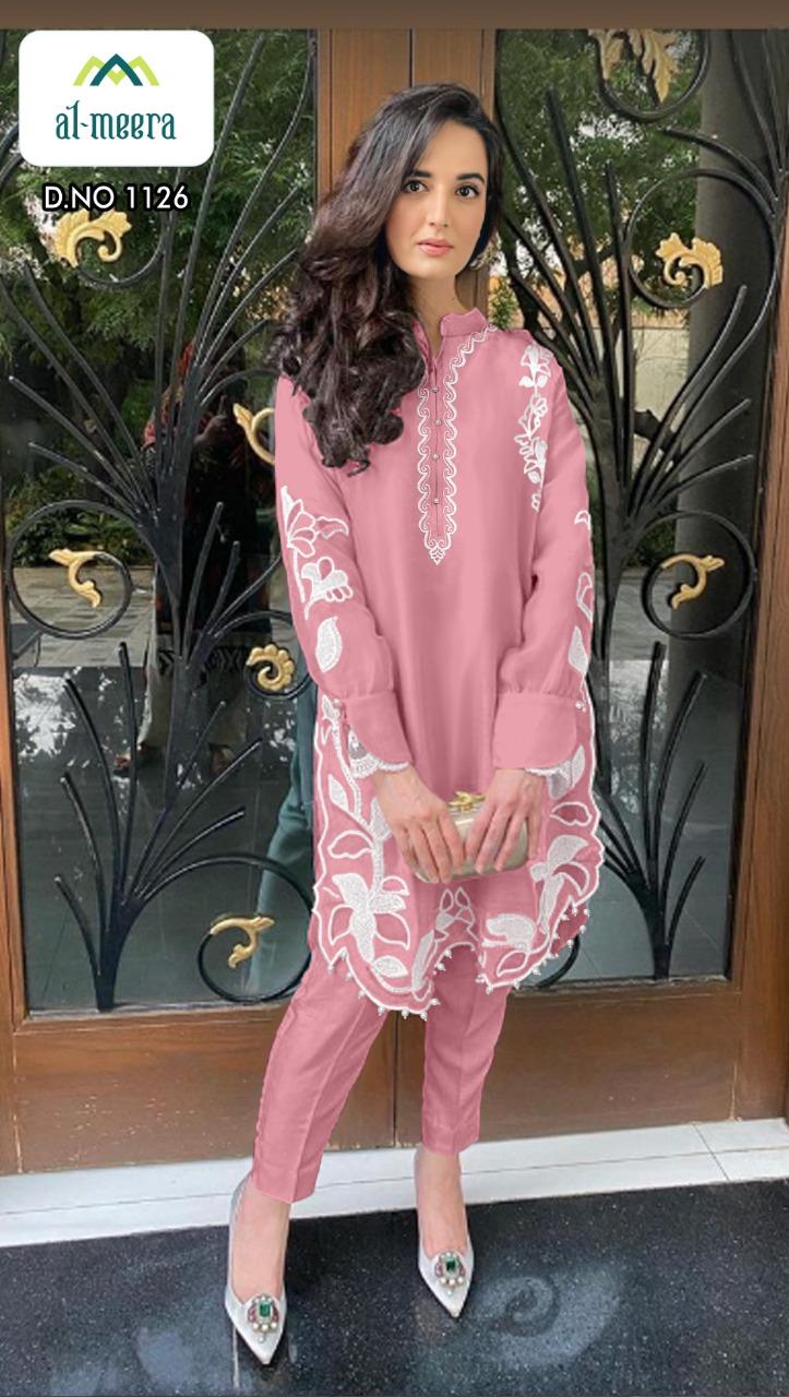 Al Meera D No 1126 Designer Fox Georgette Embro Kurti With Jam Satin Pent In Singles