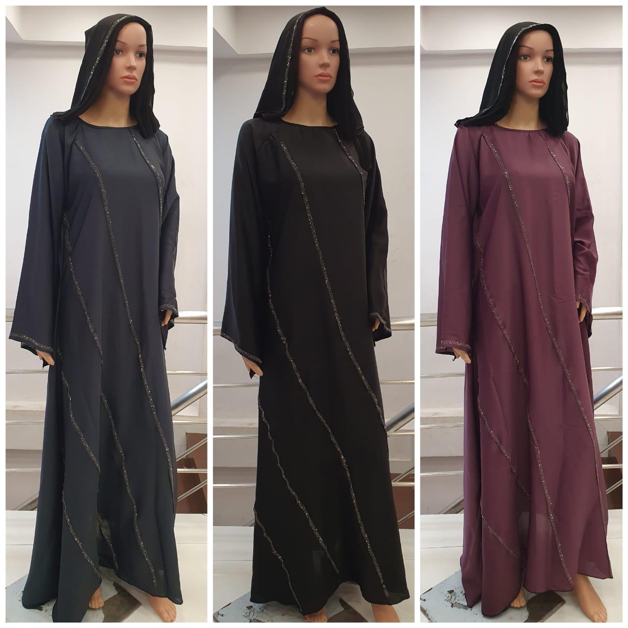 Nida Burqa Simple Big Umbrella Type Burqa With Diamonds Work On Border In Singles