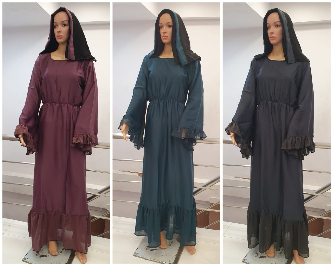 Nida Fabric Burqa With Big Umbrella Sleeves And Belt And Frill Bottom Work In Singles