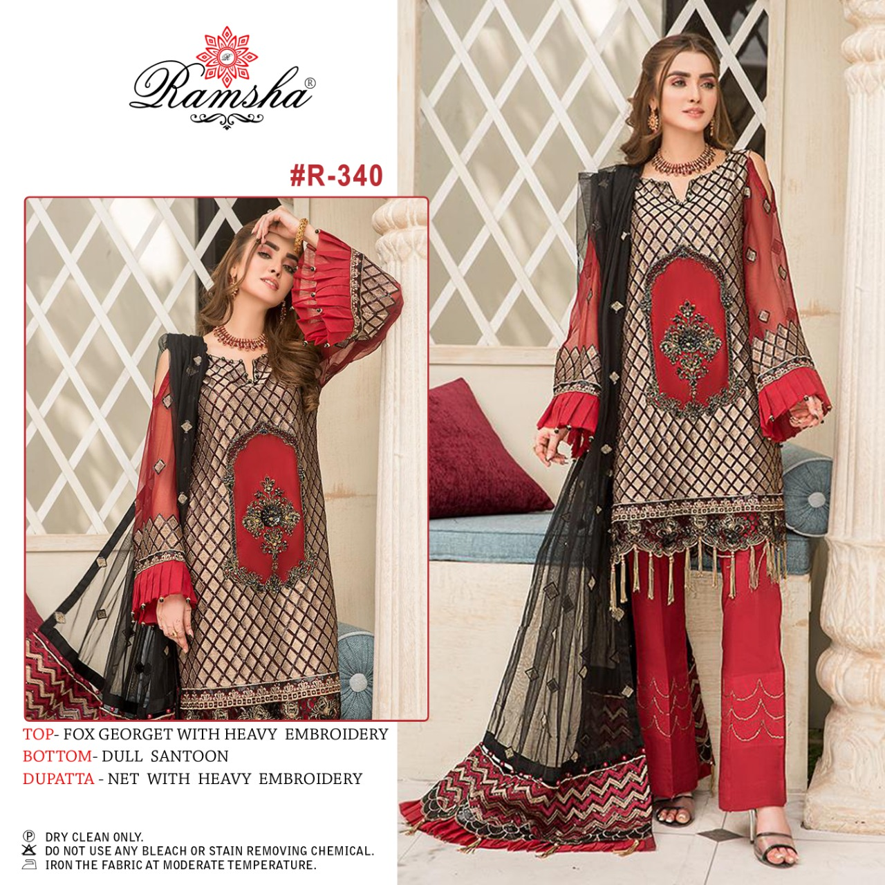 Ramsha R 339 To 342 Vol 19 Designer Georgette With Heavy Embroidery Work Pakistani Pattern Suits In Singles