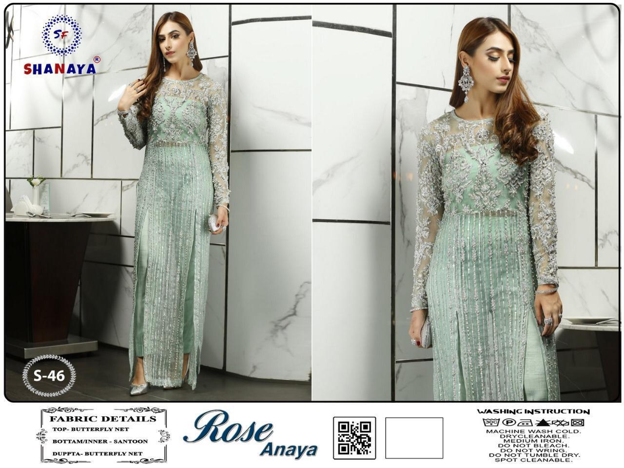 Shanaya Rose Anaya S 46 Heavy Butterfly Net With Heavy Embroidery Work Pakistani Pattern Suits In Singles