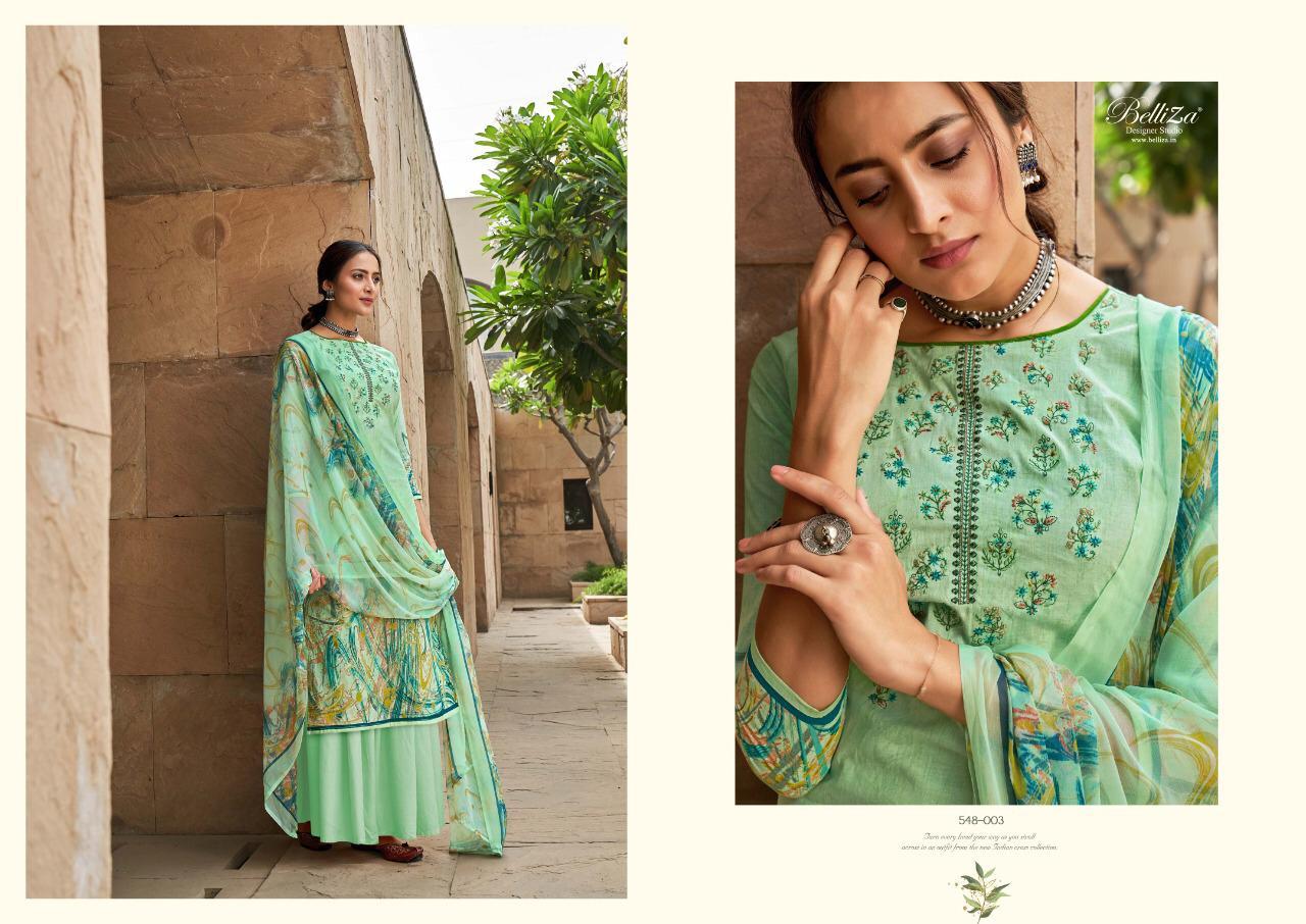 Belliza Maanjari Designer Cotton Digital Print With Heavy Embroidery Work Suits In Singles