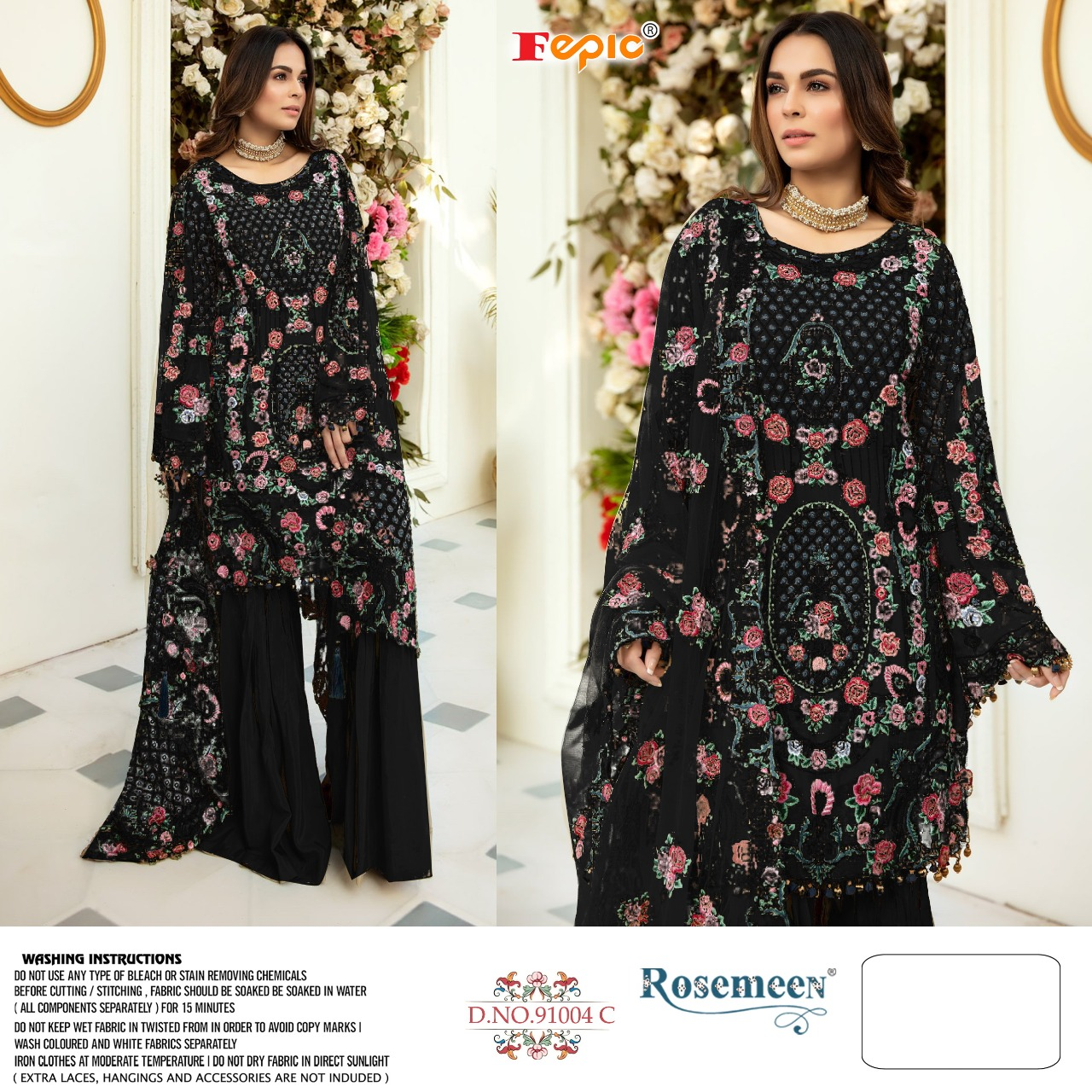 Fepic Rosemeen D No 91004 Colours Net Heavy Embroidery Work And Handwork Suits In Singles