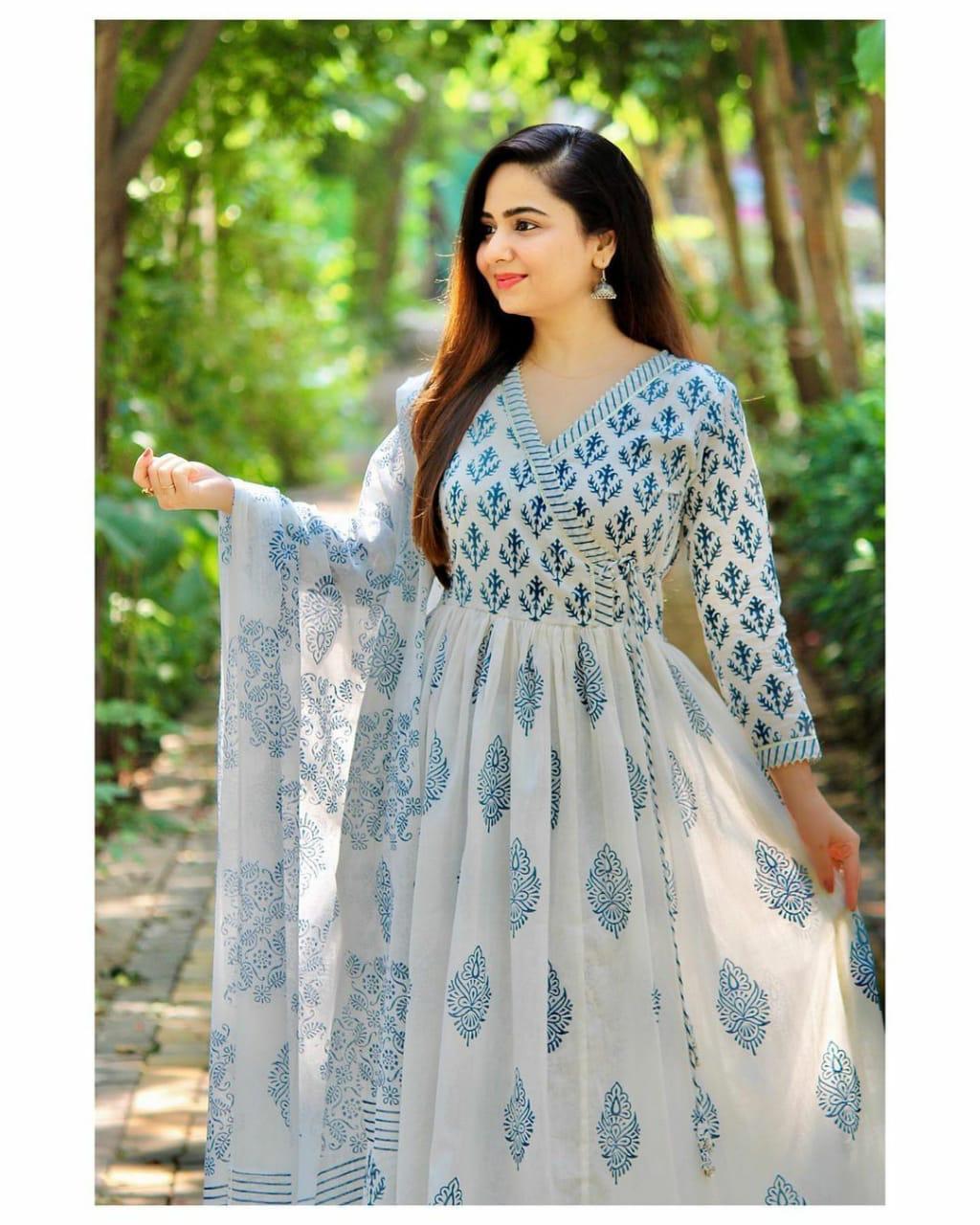 Pure Rayon Anarkali Pattern Block Kurti With Printed Rayon Pant And Printed Mal Mal Dupatta Readymade In Singles
