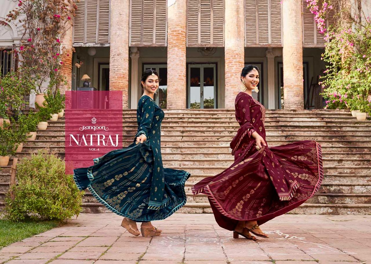 Rangoon Natraj Vol 4 Designer Rayon Print With Value Edition Work Lehenga Stitch Suits Wholesale