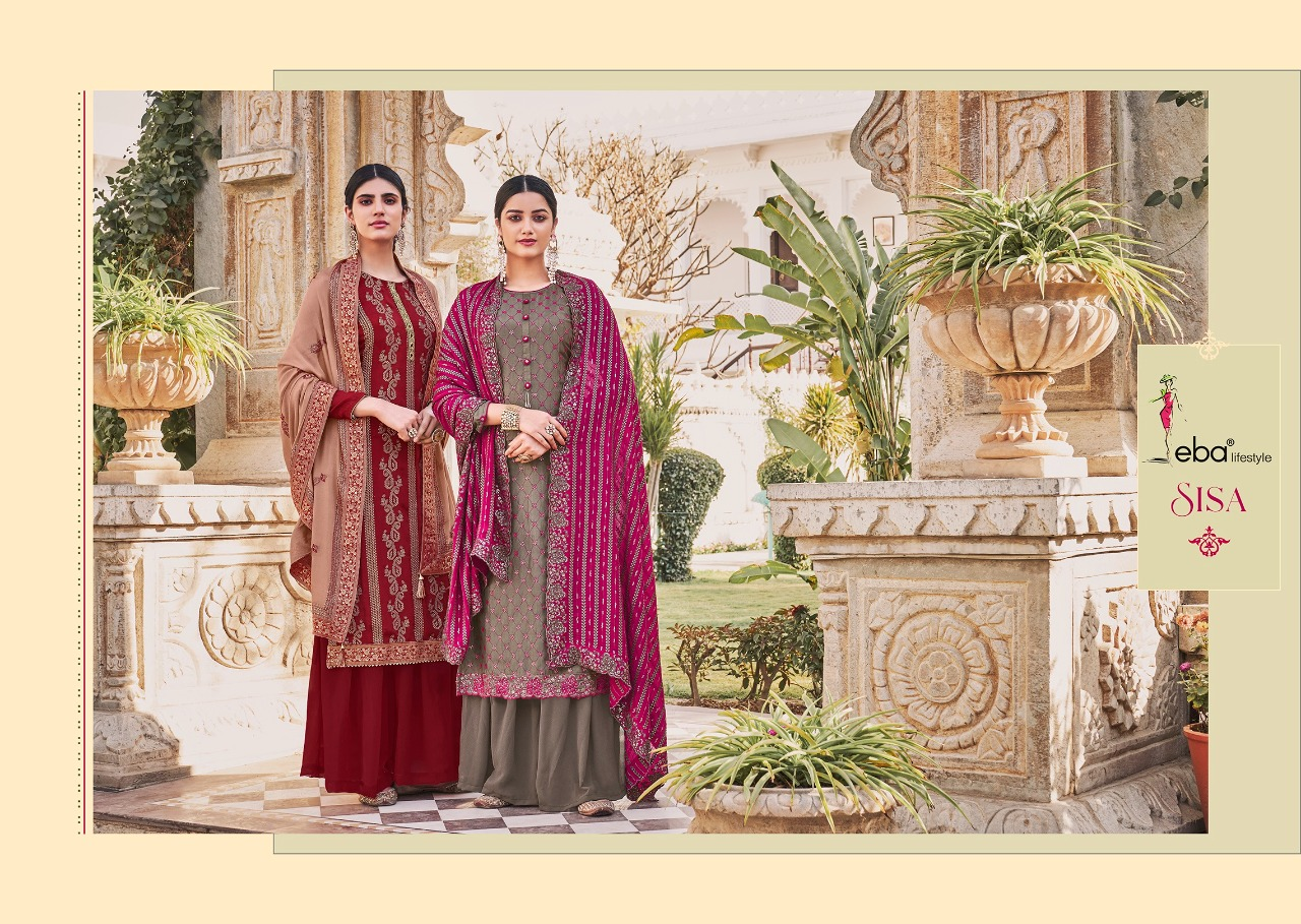 Eba Lifestyle Sisa Vol 1 Designer Heavy Chinon With Embroidery Work Suits Wholesale
