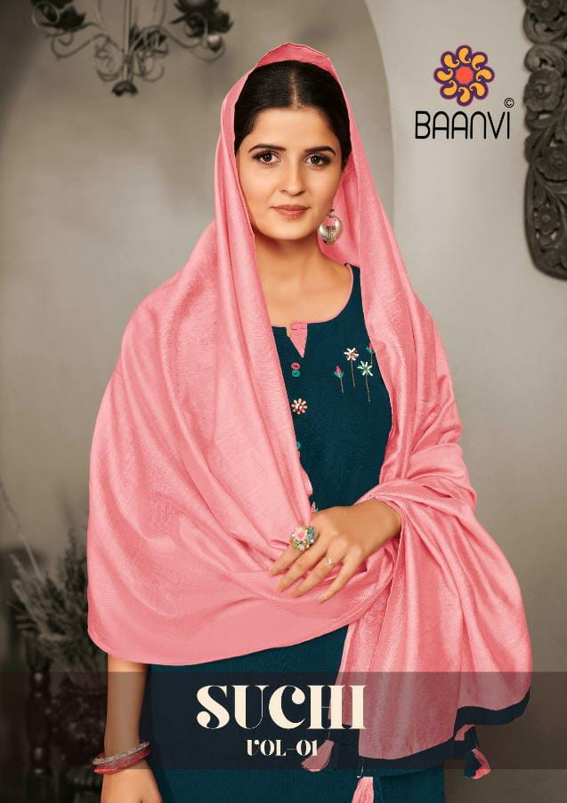R Studios Baanvi Suchi Vol 1 Designer Rayon Embroidery Work Stitched Kurti With Cotton Pant And Chanderi Silk Dupatta Wholesale