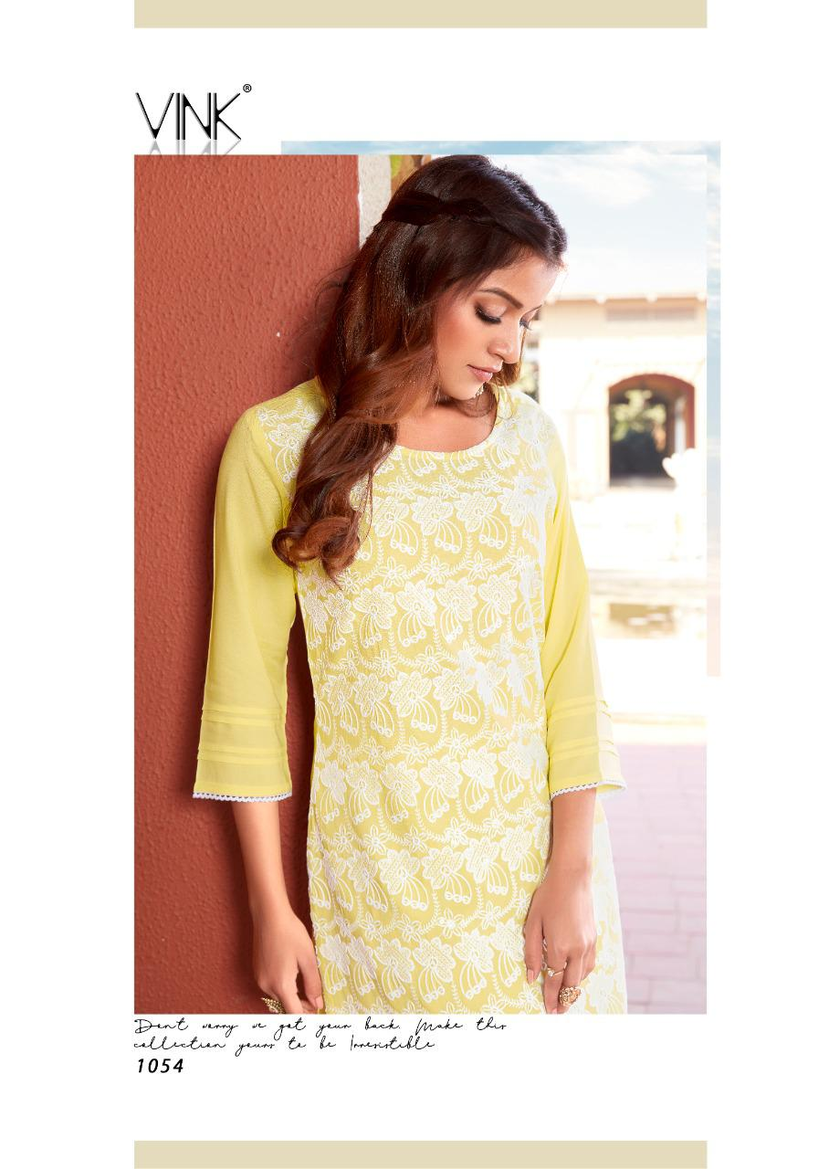 Vink Lucnowi 5 Designer Rayon With Schiffli Sequence Work Kurti With Pant In Wholesale