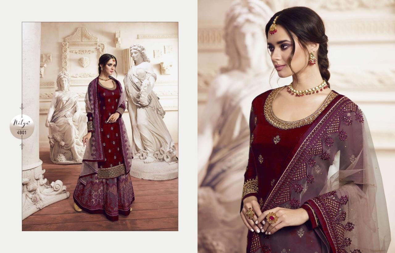 Lt Nitya 4901 Designer Heavy Satin Georgette With Embroidery Work Partywear Plazzo Suits Wholesale