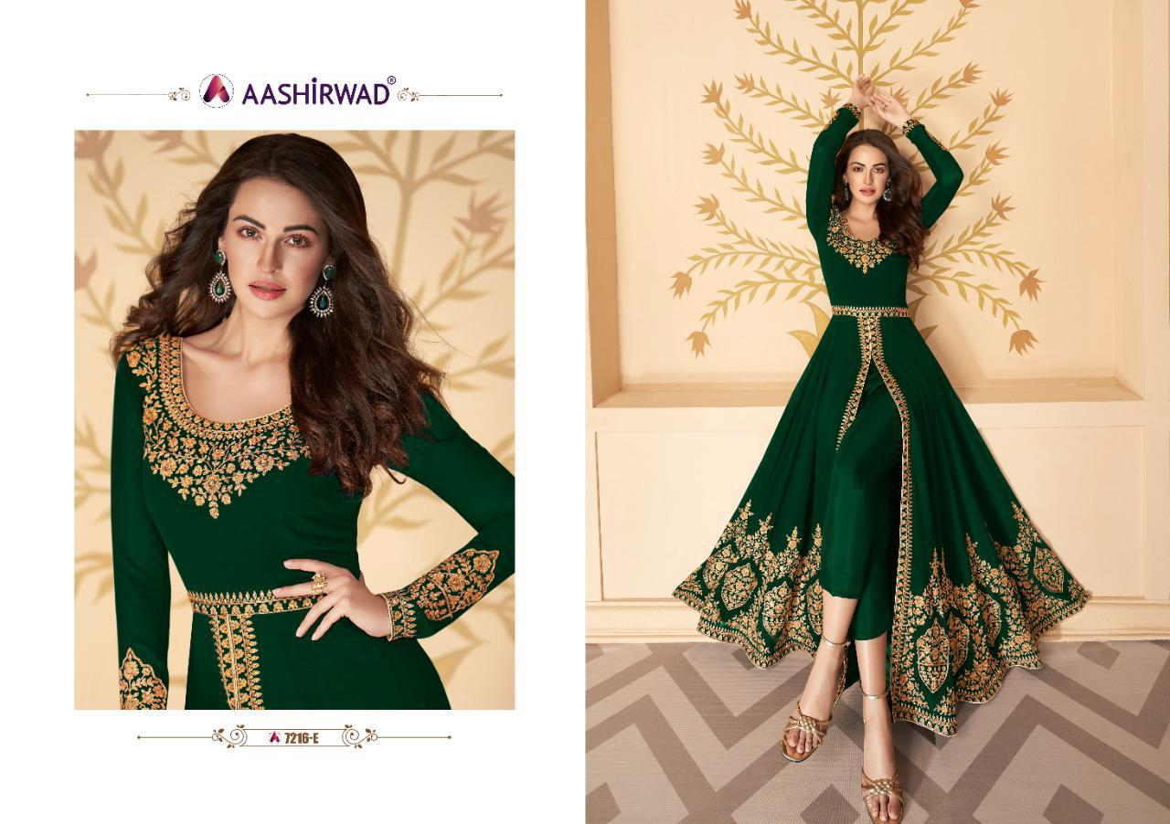 Aashirwad 7216 Designer Fox Georgette With Heavy Embroidery Work Partywear Heavy Suits In Singles