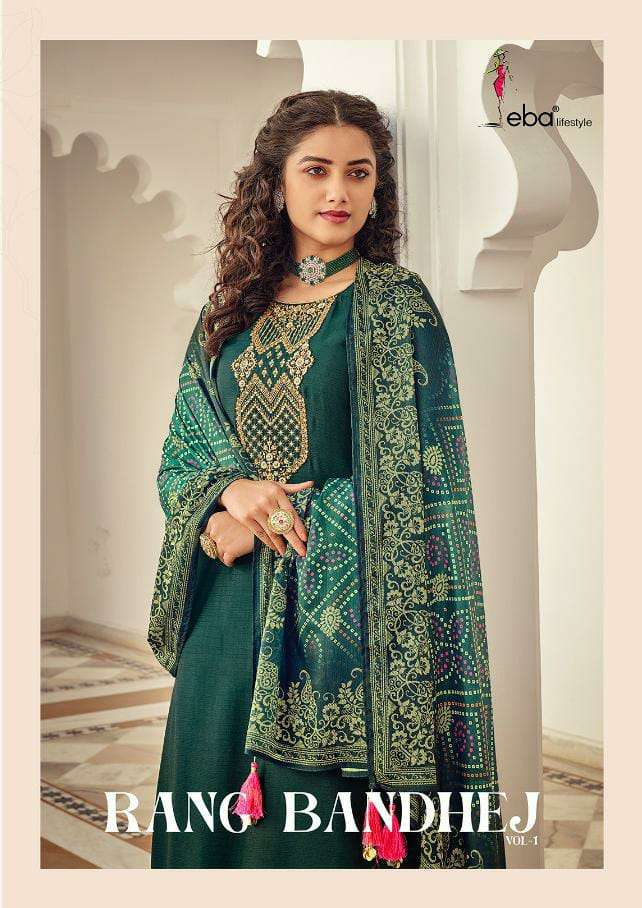 EBA LIFESTYLE RANG BANDHEJ DESIGNER HEAVY CHINON WITH EMBROIDERY WORK PARTYWEAR SUITS WHOLESALE