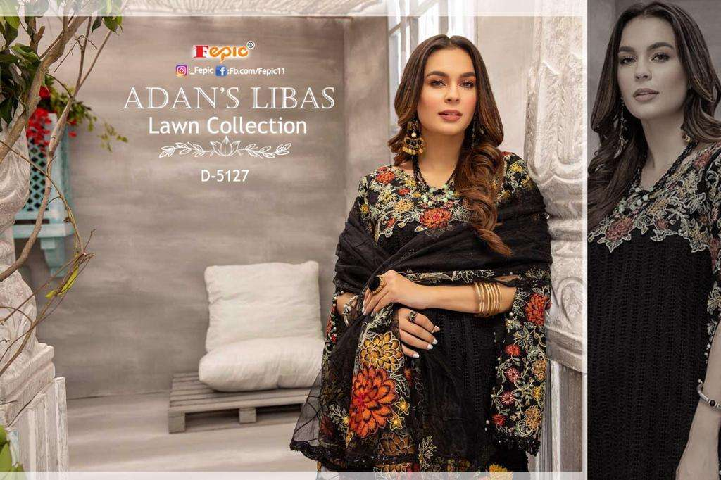 FEPIC ROSEMEEN ADNAN LIBAS LAWN COLLECTION DESIGNER LAWN COTTON PRINT WITH HEAVY EMBROIDERY WORK PARTYWEAR PAKISTANI PATTERN SUITS