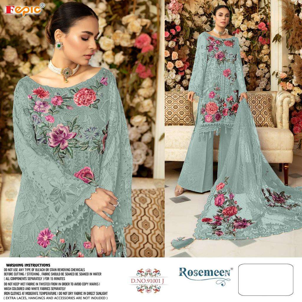 FEPIC ROSEMEEN D.NO 91001 DESIGNER HEAVY NET EMBROIDERY WORK WITH PATCH WORK PAKISTANI PATTERN PARTYWEAR SUITS WHOLESALE