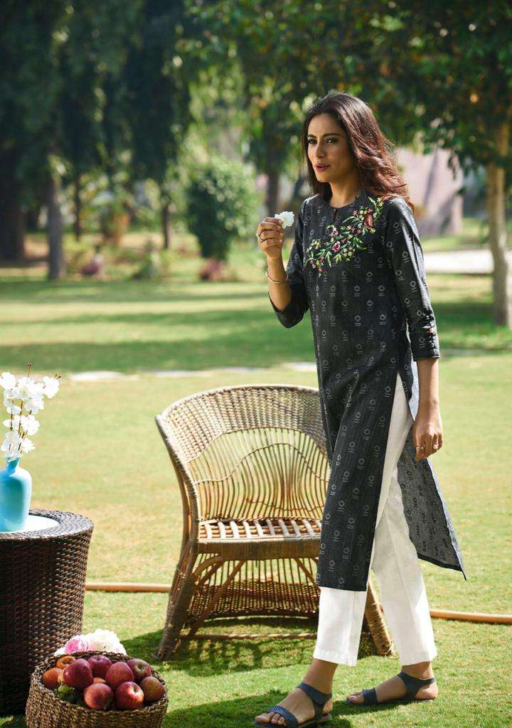 FOUR BUTTONS BASIL 2 DESIGNER COTTON STITCH DOBBY WITH HEAVY EMBROIDERY WORK KURTIS WHOLESALE