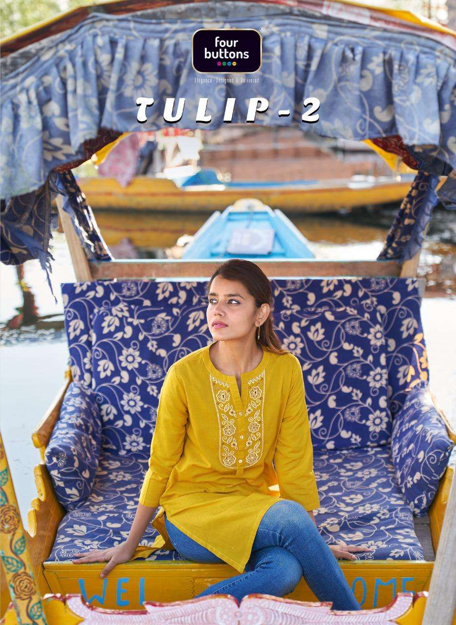 FOUR BUTTONS TULIP 2 DESIGNER EMBROIDERED COTTON KURTIS IN DAILY WEAR COLLECTION AT BEST WHOLESALE RATE