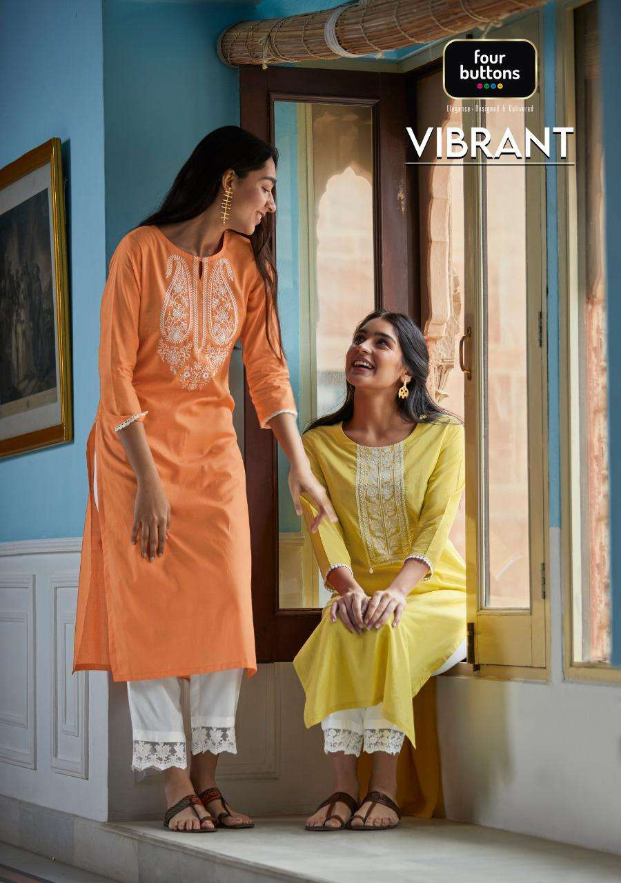 FOUR BUTTONS VIBRANT DESIGNER WOVEN COTTON WITH LUCKNOWI WORK KURTI WITH RAYON EMBROIDERY LACE PANT WHOLESALE