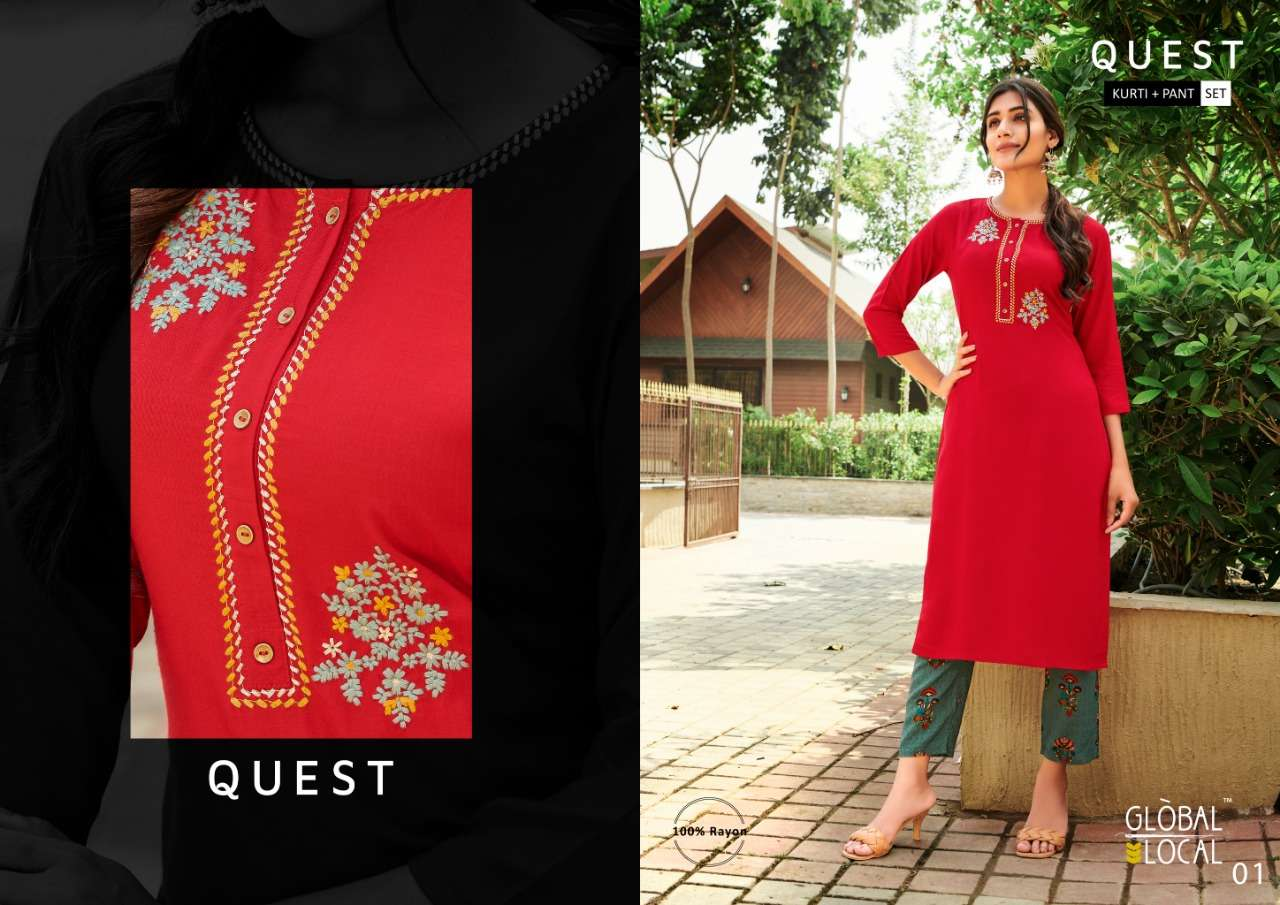 GLOBAL LOCAL QUEST DESIGNER RAYON EMBROIDERED KURTI WITH FOIL PRINTED PANTS IN BEST WHOLESALE RATE