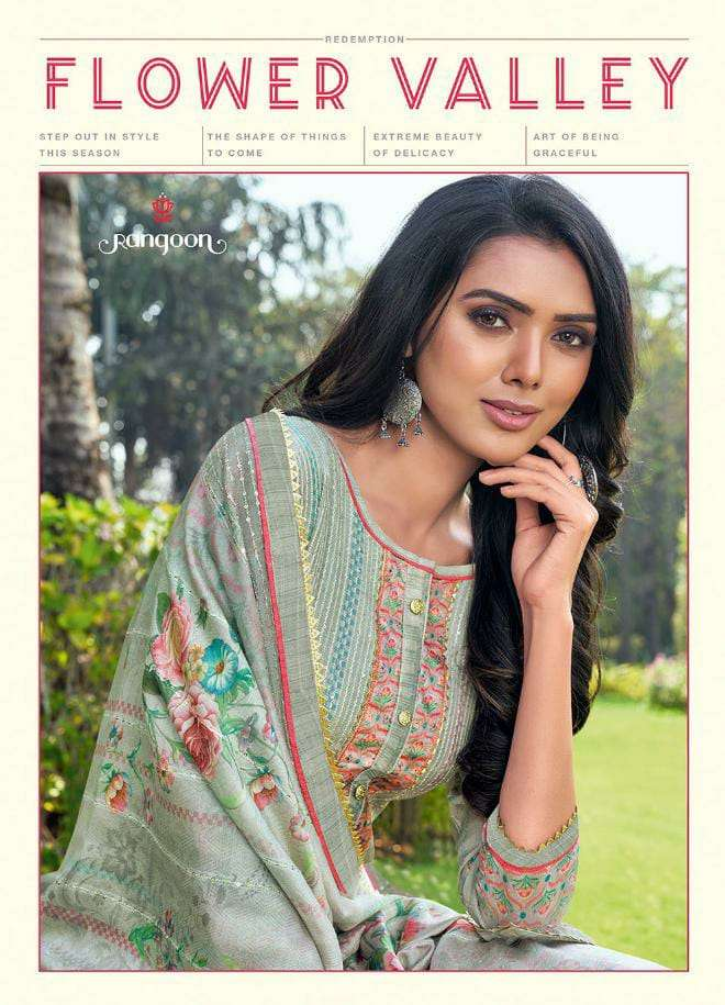 KESSI RANGOON FLOWER VALLEY DESIGNER SEQUENCE WORKED SUITS IN FESTIVAL WEAR COLLECTION IN BEST WHOLESALE RATE