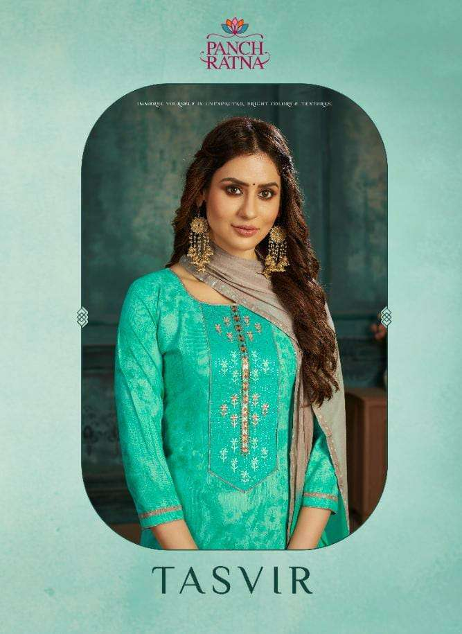 PANCH RATNA TASVIR DESIGNER SOFT COTTON PRINT WITH HEAVY EMBROIDERY WORK PARTYWEAR SUITS WHOLESALE