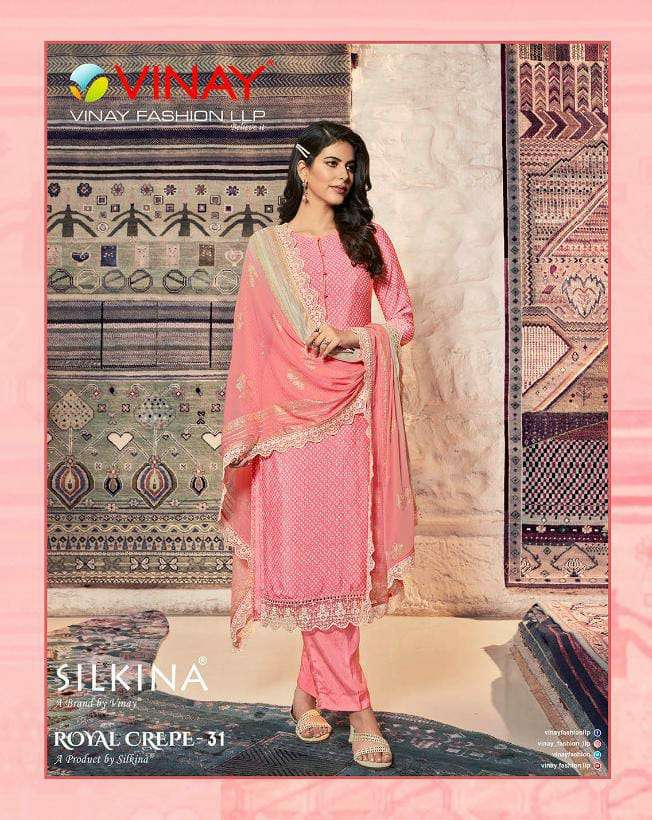 VINAY FASHION SILKINA ROYAL CREPE 31 DESIGNER ROYAL CREPE SUITS WITH GEORGETTE DUPATTA IN WHOLESALE RATE